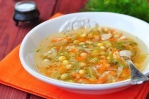 diet chicken soup, cabbage, carrots and chickpeas
